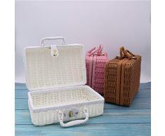 Fablcrew Aufbewahrungskorb aus Rattan Geflochten Koffer Picknickkorb Rechteckig Korb mit Henkel Weidekorb Einkaufkorb Size 30 * 21 * 13CM