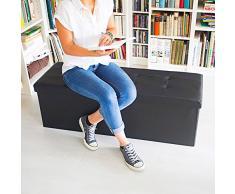 Relaxdays 10019045_46 Faltbare Sitzbank 114 x 38 x 38 cm aus Kunstleder mit teilbarem Stauraum, schwarz
