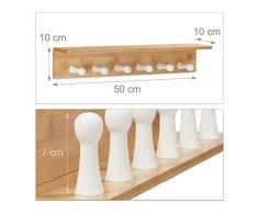 Relaxdays Handtuchhalter Bambus HxBxT: 10 x 50 x 9 cm Wandhandtuchhalter 6 Haken Holz Badetuchhalter Hakenleiste, natur