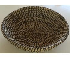 GILDE Dekokorb Dekoschale Grasschale Graskorb Obstkorb aus geflochtenem Gras, rund, schwarz, 41,5x14,5 cm