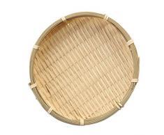 Korb Schale Sieb, Gastrotauglich, Rund, Durchmesser: 16/13 cm, Bambus, Natur - Holzfarbe, 16 × 2 cm