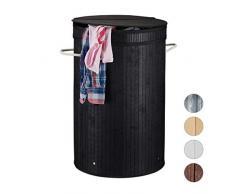 Relaxdays Wäschekorb Bambus, runder Wäschesammler mit Klappdeckel, 65 l, faltbare Wäschetonne, rund Ø 40 cm, schwarz
