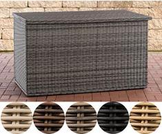 CLP Polyrattan Auflagenbox Comfy 5mm l Gartentruhe für Kissen und Auflagen I Kissentruhe mit Dämpfer 150, Grau Meliert