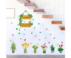 Das Wohnzimmer ist warm, romantisch, pastoral, Aufkleber, Esszimmer, Treppen, dekoriert, frisch, Topf, hängenden Korb, Wand, wasserdicht.