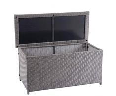 Mendler Poly-Rattan Kissenbox HWC-D88, Gartentruhe Auflagenbox Truhe ~ Basic grau, 63x135x52cm 320l