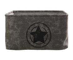 Aufbewahrungskorb Aufbewahrungsbox Dekokorb ILJANA | Kunststoff | Grau mit Stern