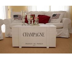 Uncle Joe´s Truhe Champagne Couchtisch Truhentisch im Vintage Shabby chic Style aus Massiv-Holz in Weiss mit Stauraum und Deckel Holzkiste Beistelltisch Landhaus Wohnzimmertisch Holztisch weiß