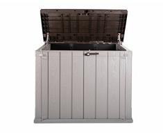 Ondis24 Mülltonnenbox Gartenbox Storer Gerätebox abschließbar für 2 Mülltonnen (842 Liter, Braun)