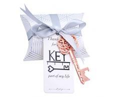 Makhry 50 Stücke Vintage Schlüssel-Flaschenöffner Hochzeit Schlüssel Skelett Schlüssel Flaschenöffner Hochzeitsgastgeschenke Set mit Kissenboxen und Etikett(Roségold)