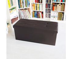 Relaxdays Sitzbank mit Stauraum Kunstleder 76x38x38cm zum falten + Sitztruhe Truhenbank Sitzhocker (braun)
