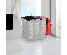 Relaxdays, grau 3er Wäschesortierer, Klappgestell, getrennter Wäschesack, 3 Fächer, 90 Liter, XXL Wäschekorb, eckig, Standard