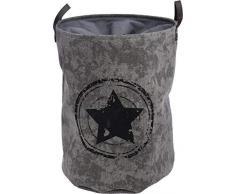 Faltbarer Wäschesack grau - 75 Liter/Wäschesammler mit Stern Motiv - Star Wäschebehälter Wäschekorb Wäschetonne
