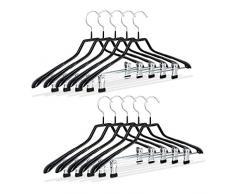 Relaxdays Klammerbügel, 10er Set, Kleiderbügel für Kostüme, gummiert aus Metall, rutschfest, platzsparend, 42 cm, schwarz
