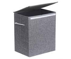 SONGMICS Wäschekorb 60 L, Wäschesammler aus Leinenimitat, Wäschetruhe mit Deckel und Griffen, faltbar, Grau LCB109