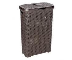 CURVER Rattanoptik 40 Liter Wäschebox, Plastik, Dunkelbraun, 44.7 x 26.5 x 61.2 cm