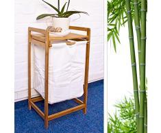 Praktischer Wäschesammler in H x B x T: 73 x 36,5 x 33 cm - Im dekorativen Bambus Design - Passt sich optimal in Ihre Wohnung ein - Besonders im Bad als ergänzendes Accessoire zu Ihren Badmöbeln