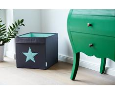 STORE,IT 672142 große Ordnungsbox offen, grau mit Mintgrünem Stern, Polyester, Grau/ Mint, 38 x 32 x 32 cm
