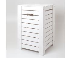 HolzFee Wäschebox Holz Wäschekiste Wäschetruhe (Weiß)