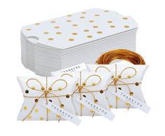TsunNee Kissen Papier Süßigkeiten-Boxen mit Dankeskarte, Weihnachten Weihnachten Party Geschenkboxen, süße Hochzeit Gastgeschenkboxen, Kreative Papier Leckerli-Boxen, 50 Stück, Stil 1, 24-Pack