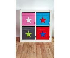 STORE.IT 753764 große Ordnungsbox offen, Aufbewahrungsbox, passend für Kallax, Expedit, Polyester, 38 x 32 x 32 cm, pink mit weißem Stern