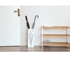 SONGMICS Regenschirmständer aus Metall, quadratischer Schirmständer, Wasserauffangschale herausnehmbar, mit Haken, 15,5 x 15,5 x 49 cm, weiß LUC01W
