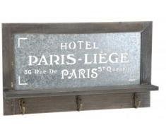Quantio Nostalgisches Holz Schlüsselbrett PARIS - Garderobe mit 3 Haken - Brett mit Ablage - Schlüsselablage bzw. Handy-Ablage - Hakenleiste