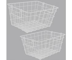Obstkorb CINDY Drahtkorb Gitterkorb Einkaufskorb Dekokorb Korb Metall Bunt (Groß, Weiß)