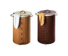WENKO 17771100 Wäschetruhe Bamboo - mit herausnehmbarem Baumwollwäschesack, 55 Liter, Ø 35 x 60 cm