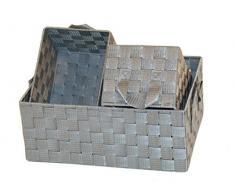 3er-Set Aufbewahrungskorb Regalkorb Dekokorb geflochten grau