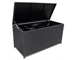 mewmewcat Auflagenbox Gartenbox Aufbewahrungsbox 150 x 50 x 60 cm Polyrattan Schwarz