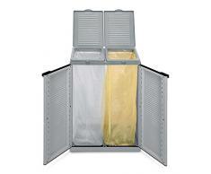 Hier passt viel rein! XXL Gartenschrank mit zwei Halterungen für Müllsäcke und Recycling. Frontseitig und von Oben zu öffnen. In neutralem Grau.