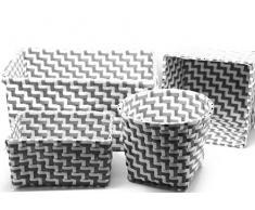 Bada Bing 4er Set Aufbewahrungskorb Ordnungshelfer Deko Box Rattan Optik Farben Weiß Grau
