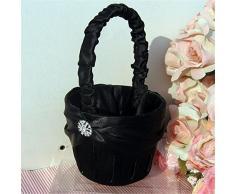 Hochzeit Blumen Mädchen Korb, schwarz Strass Braut Blume Korb, Ehe Requisiten Decoation, Dekoration Event Party Supplies – 13 × 22 (H) cm