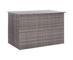 Tidyard Garten Auflagenbox Poly Rattan Gartenbox Groß Kissenbox Tischtruhe Truhe, mit Gasdruckfedern, 150×100×100 cm Grau