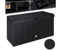 Kesser® Auflagenbox Kissenbox 290 Liter mit Rollen klappbarer Deckel Haltegriffe Rattanoptik Gartenbox, Anthrazit