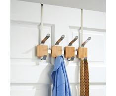 InterDesign 92470EU Formbu 4-er Hakenleiste zum Hängen über die Tür, bambus/edelstahl gebürstet