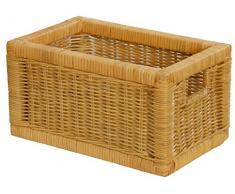 Stabiles Set 2 Regalkorb mit Holzrahmen aus echtem Rattan/Schübe mit Griff 20x32x17cm Schubfach Regal Korb