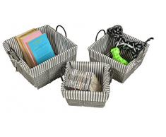 ts-ideen 3er Set Körbe Box Stoffkisten Spielzeug Frühstückskorb Obst Brot-Korb Füllkorb Henkelkorb dreiteilig in Grau