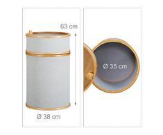 Relaxdays Bambus Wäschekorb, runde Wäschetonne, 42 L, 2-teiliger Wäschesammler mit Deckel, 63 x 38 x 38 cm, natur-grau