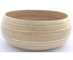 Bambusschale, Naturfarbe, 24 x 10cm, für Obst, Salat, Pasta und mehr, Lebensmittelecht, Handarbeit, Neu (05S, Natur)