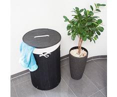 Relaxdays Wäschekorb Bambus, faltbare Wäschetonne mit Deckel, Volumen 70 l, Wäschesack Baumwolle, rund Ø 41 cm, schwarz
