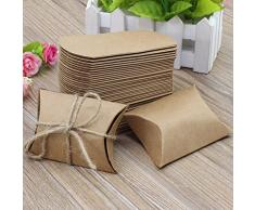 HSeaMall Kraft Papier Candy, Geschenk-Box Kissen Box für Hochzeit Geburtstag Party 50 - Pillow Shape 50PCS