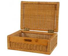 Flacher Korb mit Deckel Rattan geflochten Farbe Honig, Regalkorb, Schrankkorb
