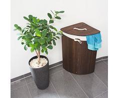 Relaxdays Eckwäschekorb Bambus, faltbare Wäschebox 60 l, platzsparend, Wäschesack Baumwolle, 65 x 49,5 x 37 cm, braun