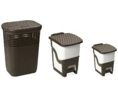 DEA HOMEART002B Set 3 Stücke Wäschekorb Rattan Linen Basket 60 mit Tretabfalleimer Rattan Bin 18 und Tretabfalleimer Rattan Bin 6, 44 x 35 x 60 cm, braun