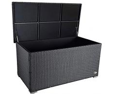 PREMIUM Venezia 950 L Polyrattan Garten Kissenbox wetterfest (regnet nicht rein) 146 x 83 x 80 cm, Auflagenbox mit verstärktem Deckel und Gasdruckfedern, auch als Tischplatte geeignet, Schwarz