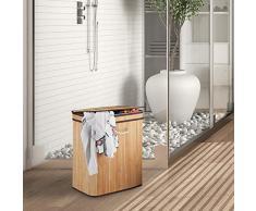 Relaxdays Wäschekorb Bambus, rechteckiger Wäschesortierer, 2 Fächer, mit Klappdeckel, platzsparend faltbar, 95 l, natur