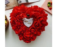 Demarkt Romantic Rose Hochzeit Ring Kissen ring Box Herz Hochzeit Ring Kissen 24 x 22 cm Rot