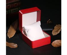NICERIO Uhrenbox, Premium PU Single Grid Armband Box Geschenkbox Schmuckschatulle mit Kissen, ideal für Weihnachten Neujahr Geburtstagsgeschenk (Rot)