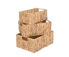 ts-ideen 3er Set Körbe Box Wäschekorb Spielzeug Frühstückskorb Obst Brot-Korb Füllkorb aus natürlicher Wasserhyazinthe